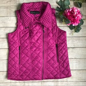Marc New York Quilted Puffer Vest Magenta
